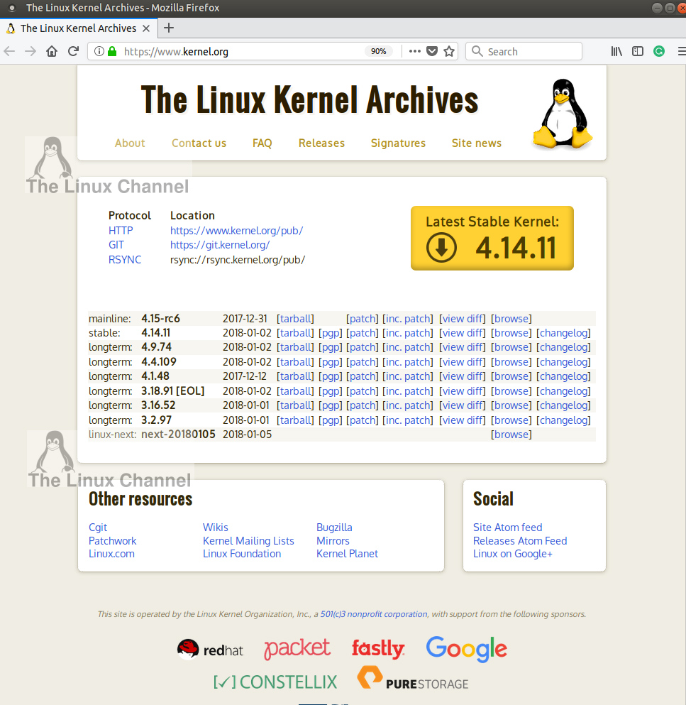 Latest stable Linux Kernel version 4.14.11