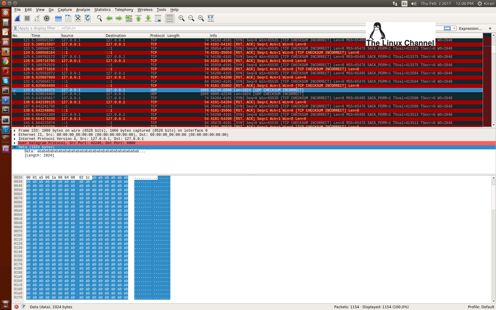 wireshark capture of udp packet client to server